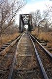 Piste del treno e ponte d'acciaio Immagine Stock