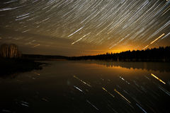 Piste della foresta del cielo del lago star Fotografia Stock Libera da Diritti