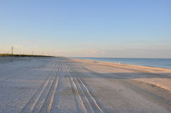 Piste della gomma nella sabbia Immagine Stock