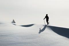 Piste di sci di Randonnee sole Immagini Stock