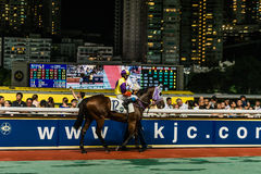 Piste heureuse Hong Kong de vallée de course de cheval Photographie stock libre de droits