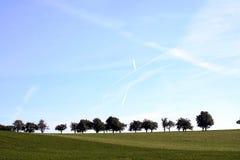 Piste piane in un cielo Fotografia Stock Libera da Diritti