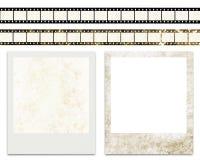 Pistes blanc de film et trames instantanées blanc de photo Photographie stock