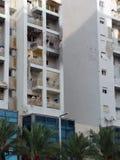 Pistes d'attaque de fusée de terroriste photographie stock