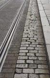 Pistes et trottoir de tramway Photo libre de droits