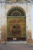 Pisticci old town. Details of a green old door Stock Photo