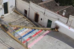 Pisticci town. Colored stairs and roofs  at Pisticci town Stock Photo