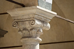 Pistoia cathedral medieval decorated marble capital Royalty Free Stock Image