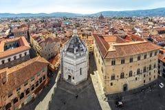 Aerial cityscape of Pistoia, Italy. Pistoia, Italy. Aerial view to Battistero di San Giovanni in Corte and Piazza del Duomo royalty free stock photos