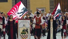 Pistoia, parada medieval Fotografia de Stock