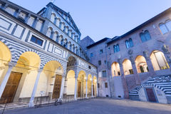 Pistoia (Tuscany, Italy). Facade of the medieval cathedral at evening Stock Photos