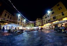 Pistoia Tuscany Włochy piazza della Sali losu angeles Sali kwadrat nocą przy bożymi narodzeniami zdjęcia royalty free