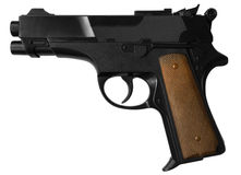 Pistol. Black pistol isolated on white with clipping path Royalty Free Stock Photo