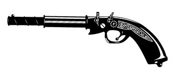 Pistol. Vector illustration of an old gun. black and white Stock Image