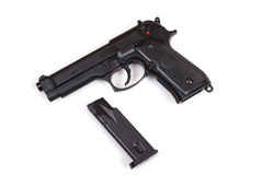 Pistol 9mm. Isolated imahe of classic pistol Stock Photo