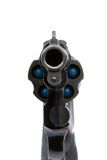 Pistol aiming at you. A revolver pointing directly at your face. White background Stock Photography