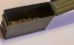 Pistol ammunition in an ammo can Stock Photos