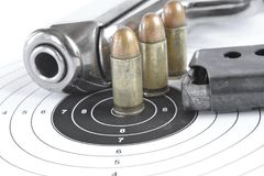 Pistol and ammunition Royalty Free Stock Images
