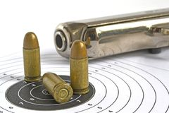 Pistol and ammunition Stock Images