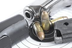 Pistol and ammunition Stock Photo
