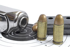 Pistol and ammunition Royalty Free Stock Photos