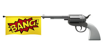 Pistol Bang. A pistol pointed towards the camera with a flag coming out the barrel that says the word bang on it vector illustration