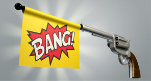 Pistol Bang Flag. A six shooter gun with a flag coming out the barrel that says the word bang on it on an isolated light background Royalty Free Stock Photos