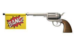 Pistol Bang Flag. A six shooter gun with a flag coming out the barrel that says the word bang on it on an isolated white background Royalty Free Stock Image
