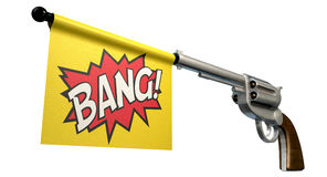 Pistol Bang Flag. A six shooter gun with a flag coming out the barrel that says the word bang on it on an isolated white background Royalty Free Stock Photo