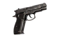 Pistol. Black pistol on an isolated white background Stock Photos