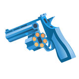 Pistol. The blue revolver, with opened by a drum Royalty Free Stock Photo