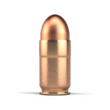 Pistol bullet isolated on white. Background, standing on white surface with a shadow Stock Images