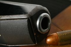 Bullet and gun scene. The pistol and bullet scene represent the weapon abstract concept related idea Royalty Free Stock Photos