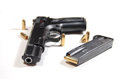 Pistol and bullets Stock Photography