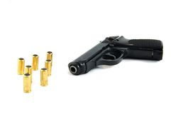 Pistol and bullets. On isolated Royalty Free Stock Photography