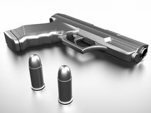 Pistol with bullets Royalty Free Stock Photo