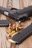 Pistol with Bullets Royalty Free Stock Images