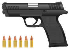 Pistol and bullets Stock Image