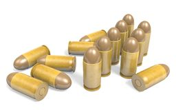 Pistol .45 caliber bullets rendered in 3D. Detailed render of .45 caliber bullets in their shells, from a pistol firearm royalty free illustration
