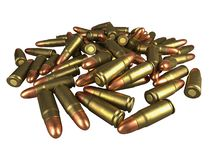 Pistol cartridge 7.62x23 mm, Russian and Soviet army, isolated. 3d rendering. Pistol cartridge 7,62x23 mm, Russian and Soviet army. 3d rendering stock illustration
