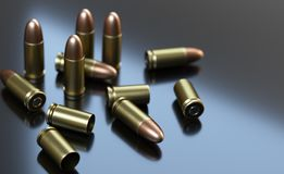 Pistol cartridges of caliber 9 mm on gray background. 3d illustration Stock Photo
