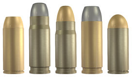 Pistol 3d ammunition set. Set containing different types of pistol ammunition in 3d isolated on white background stock illustration