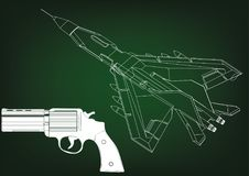 Pistol and fighter. On a green background. 3d model Stock Photography