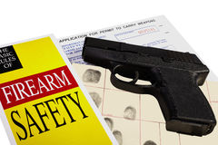 Pistol with Firearm Application and CCW Permit Fingerprint ID Stock Photography