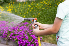 Pistol for garden irrigation. Close-up of pistol for garden irrigation Royalty Free Stock Images