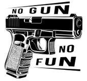 Pistol Glock gun vector illustration. 9 caliber. Pistol emblem logo. No gun no fun. Tactic pistol Glock gun vector illustration. 9 caliber. Pistol emblem logo stock illustration
