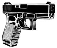 Pistol Glock gun vector illustration. 9 caliber. Pistol emblem logo. Tactic pistol Glock gun vector illustration. 9 caliber. Pistol emblem logo stock illustration