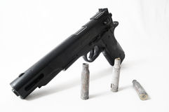 Pistol Gun and Bullets Royalty Free Stock Photography