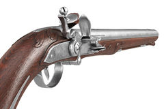Pistol gun old weapon, close view. Pistol gun old weapon metal collectible, close view. 3D rendering Stock Photography