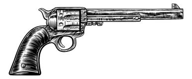 Pistol Gun Vintage Retro Woodcut Style. Gun revolver handgun six shooter pistol drawing in a vintage retro woodcut etched or engraved style Royalty Free Stock Photo